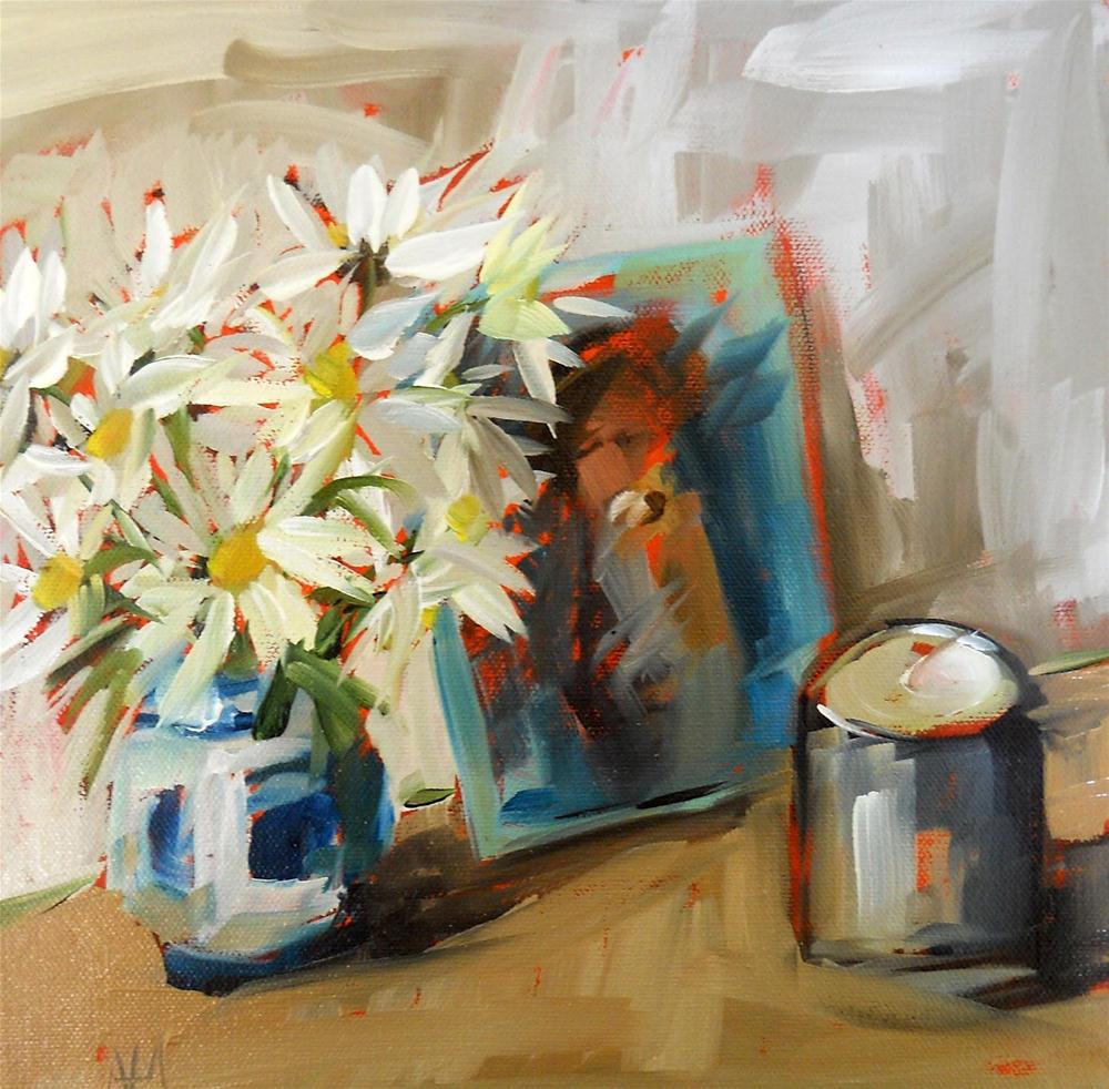 """daisies in russian vase with candle"" original fine art by Angela Moulton"