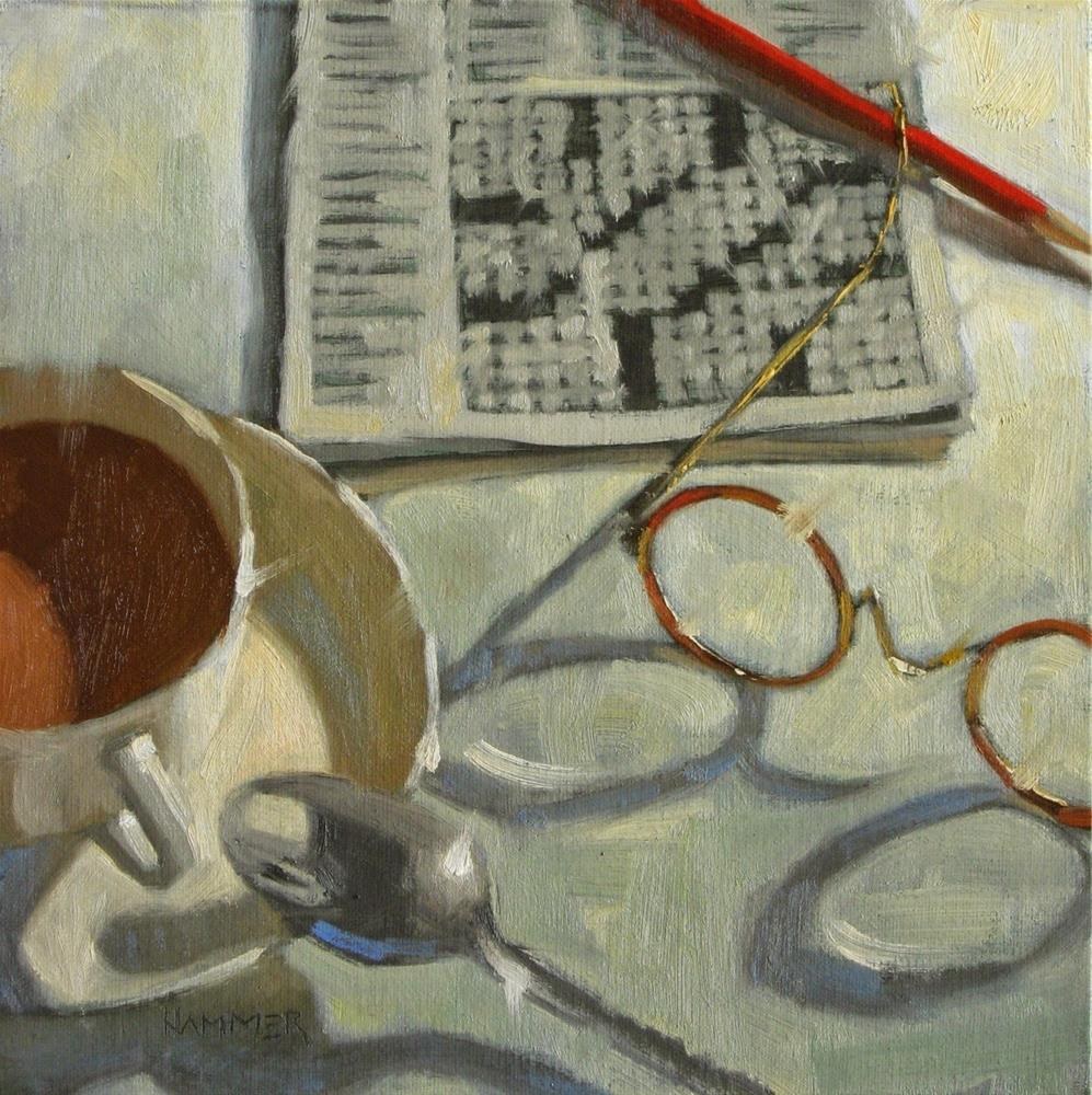 """Coffee with crossword 8 x 8   oil"" original fine art by Claudia Hammer"