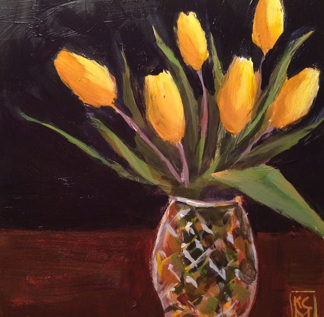 """Tulip Time - Already?? Original Painting by Kelley MacDonald"" original fine art by Kelley MacDonald"