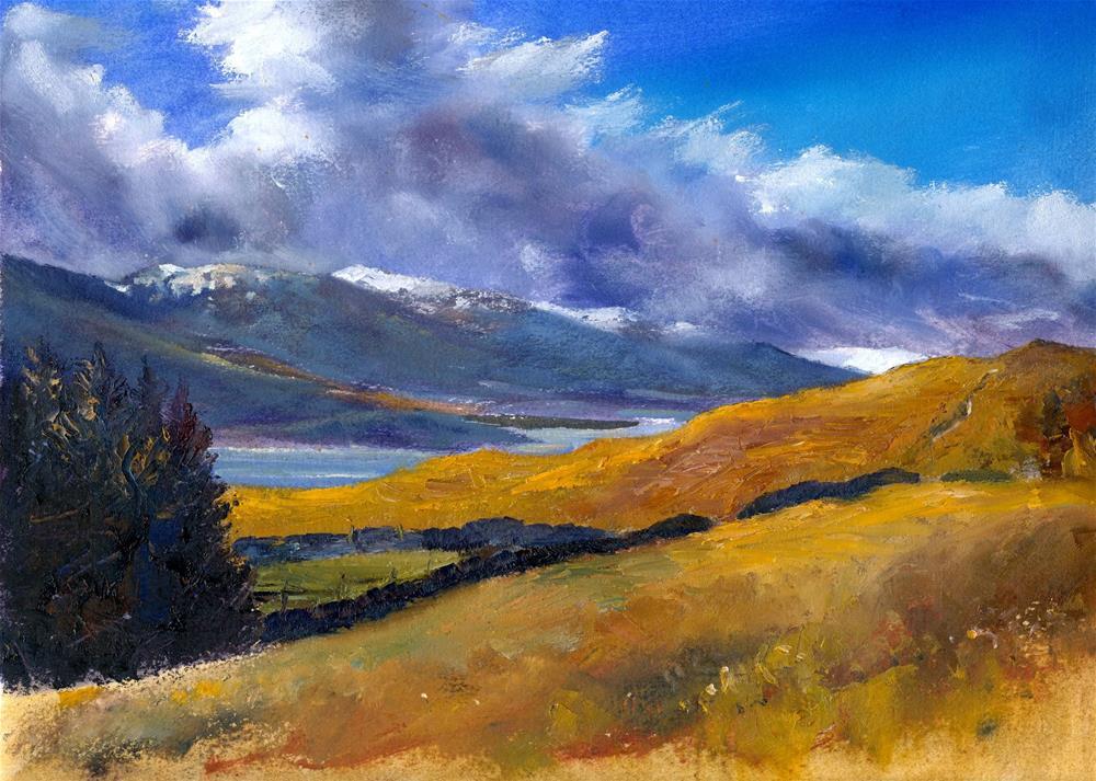 """Winter Clouds, Loch Tay"" original fine art by Christine Derrick"