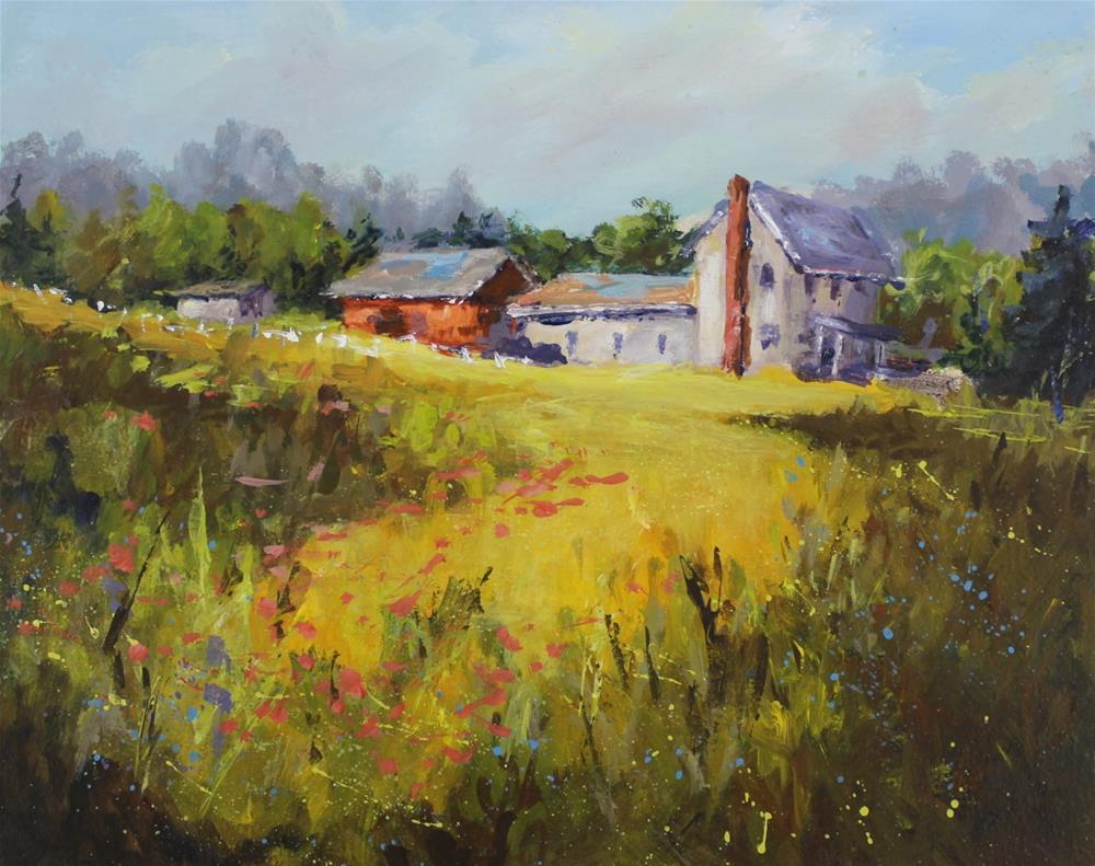 """Original acrylic landscape barn country impressionistic painting"" original fine art by Alice Harpel"