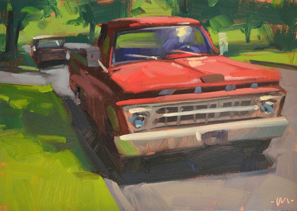 """Red Ford"" original fine art by Carol Marine"