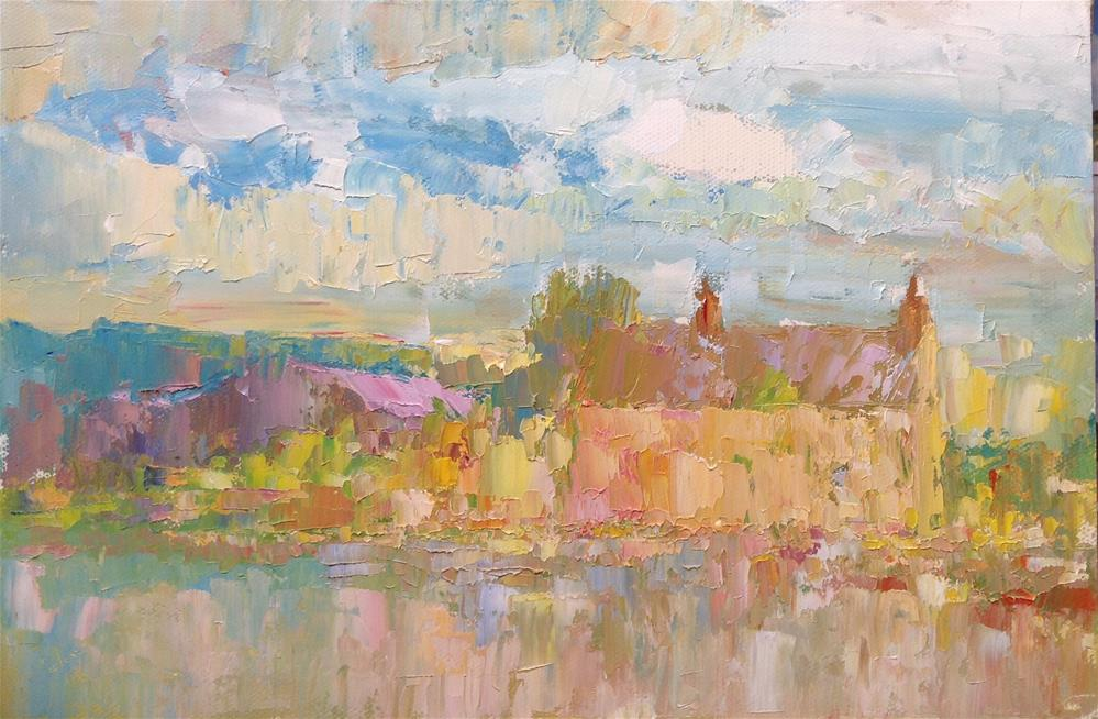 """A farmhouse at dusk"" original fine art by Joseph Mahon"