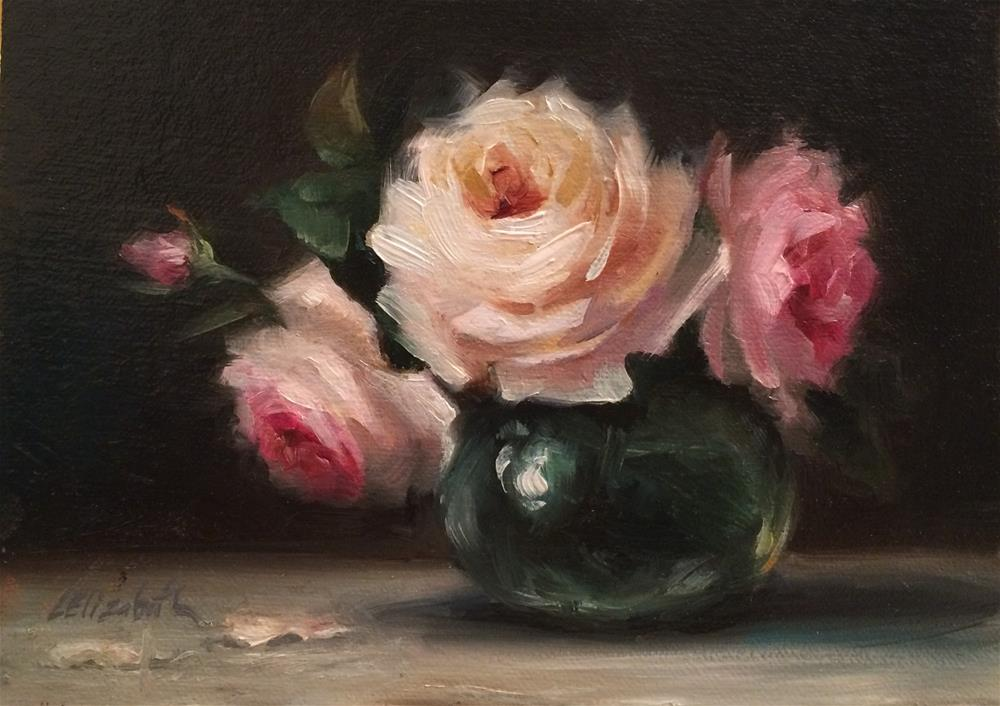"""Pink Roses in Glass, 5x 7 Oil on linen Panel"" original fine art by Carolina Elizabeth"
