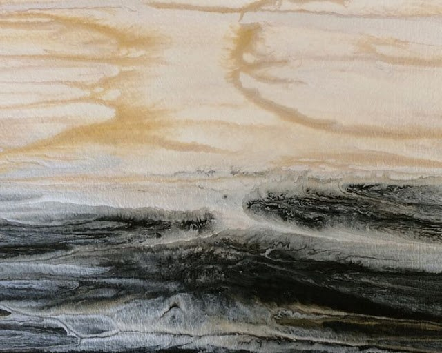 """Abstract Seascape,Coastal Abstract Art Evening Glow-Study 1 by International Contemporary Artist K"" original fine art by Kimberly Conrad"