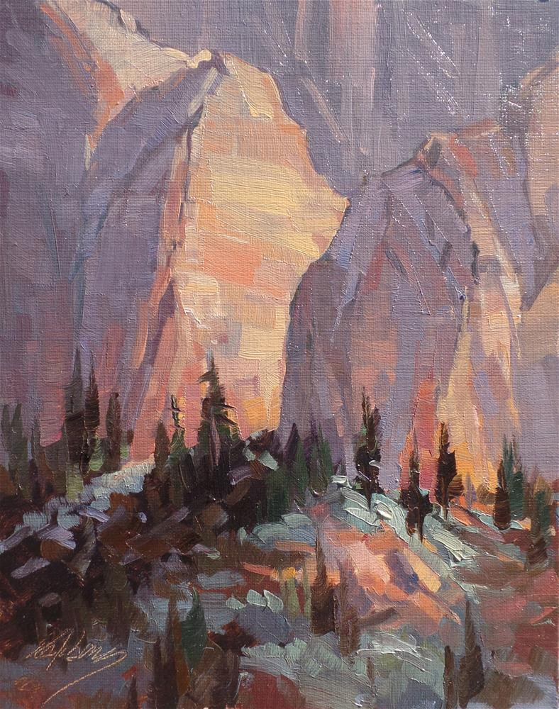 """Sunset - Kolob Canyon"" original fine art by Mary Jabens"