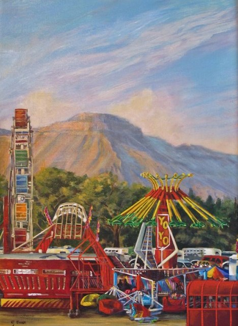 """Original Colorful Fairgrounds Colorado Landscape Painting Ferris Wheel County Fair by Nancee Jean"" original fine art by Nancee Busse"