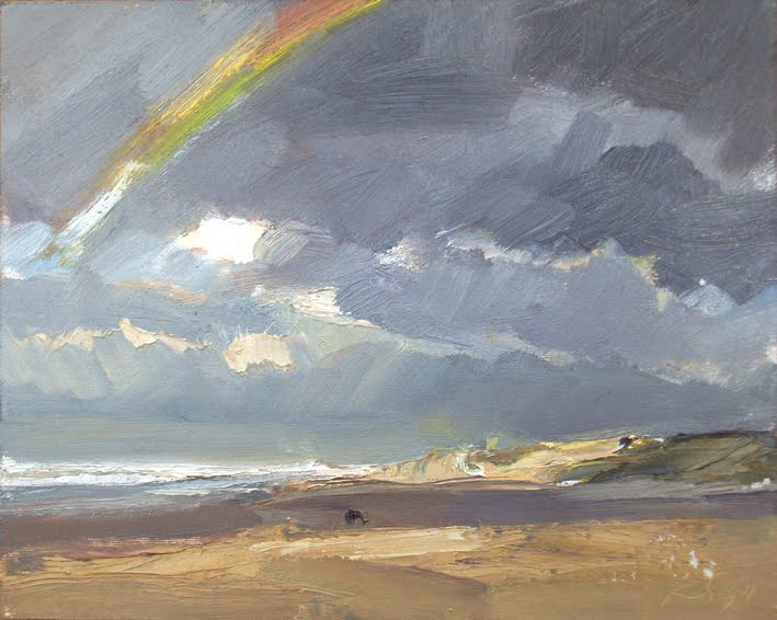 """""""Seascape fall #6 Rainbow Regenboog"""" original fine art by Roos Schuring"""