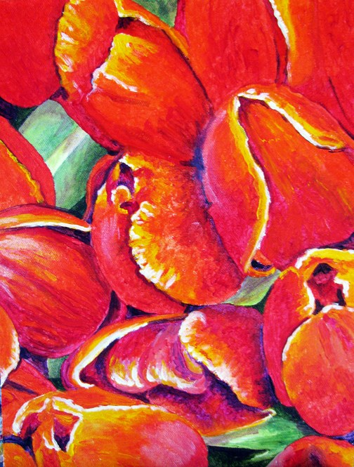 """Tulip Bunch"" original fine art by Nan Johnson"