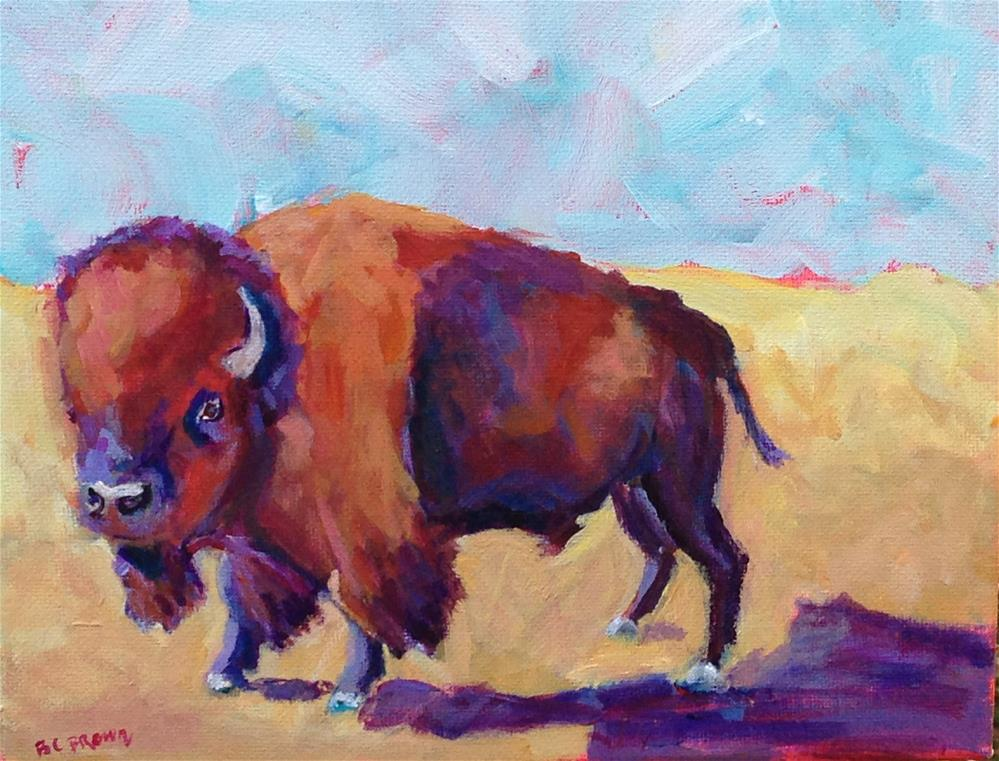 """Buffalo Crossing"" original fine art by Beth Carrington Brown"