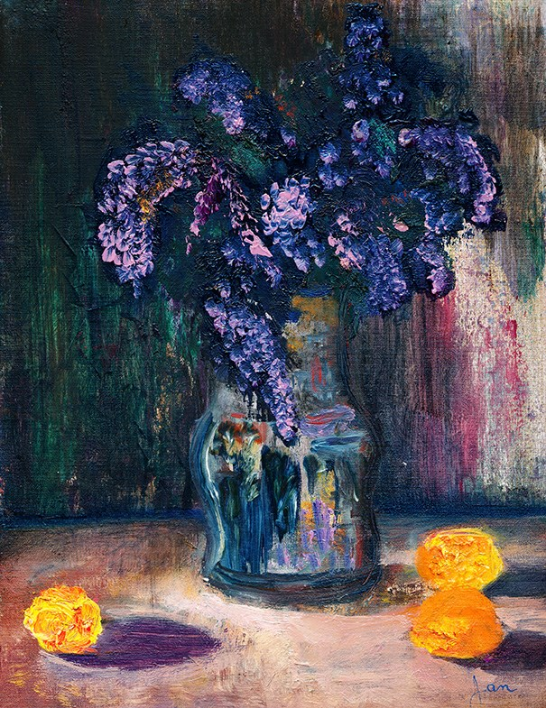"""Lilacs And Tangerines"" original fine art by Janet Gunderson"