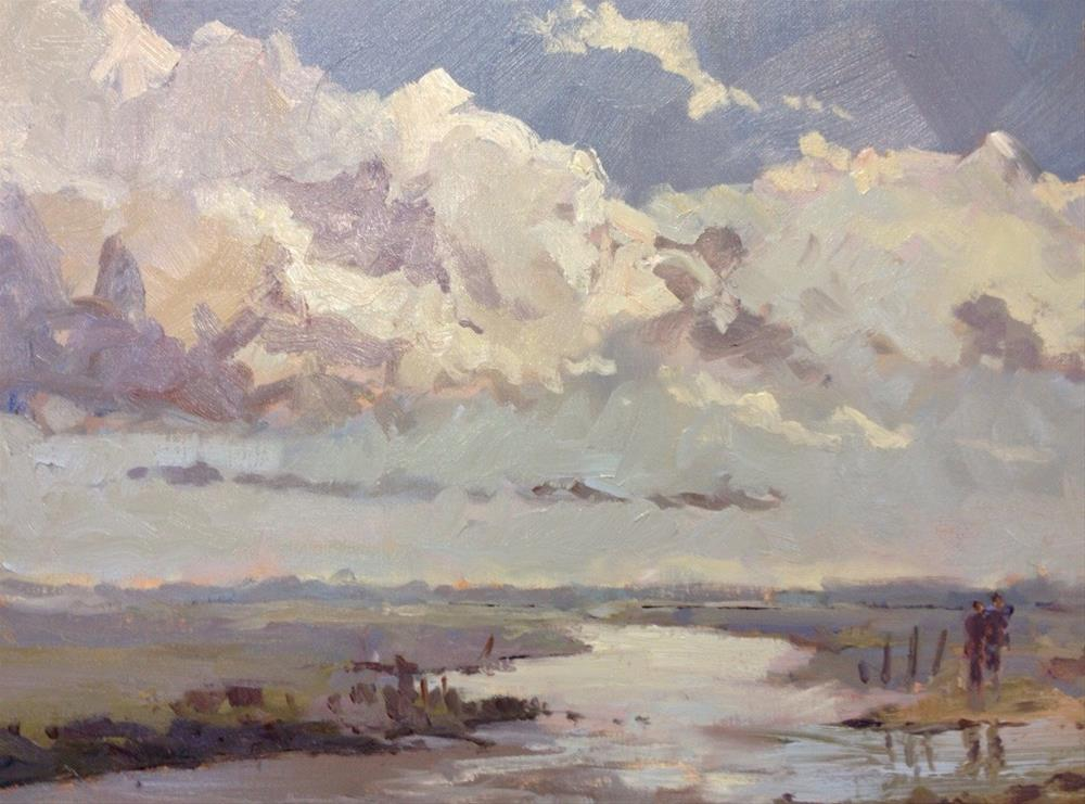 """Clouds at Blakeney"" original fine art by Mo Teeuw"