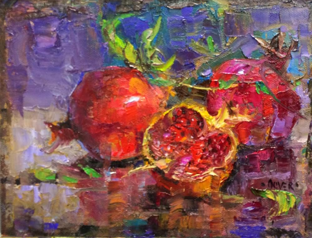 """Pomegranate Trio - day 26 in the challenge"" original fine art by Julie Ford Oliver"