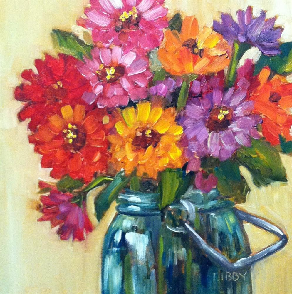 """Oh Zinnia!"" original fine art by Libby Anderson"