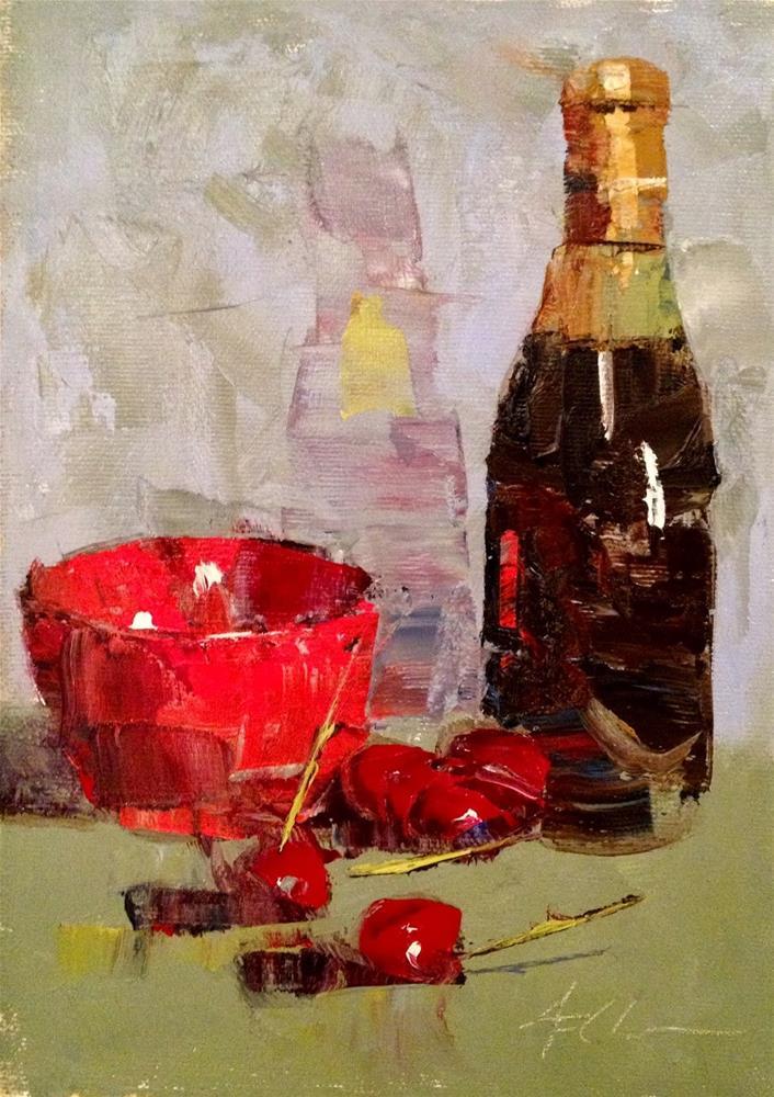 """Life's a Bowl with Cherries, 6x8"" original fine art by Ann Feldman"