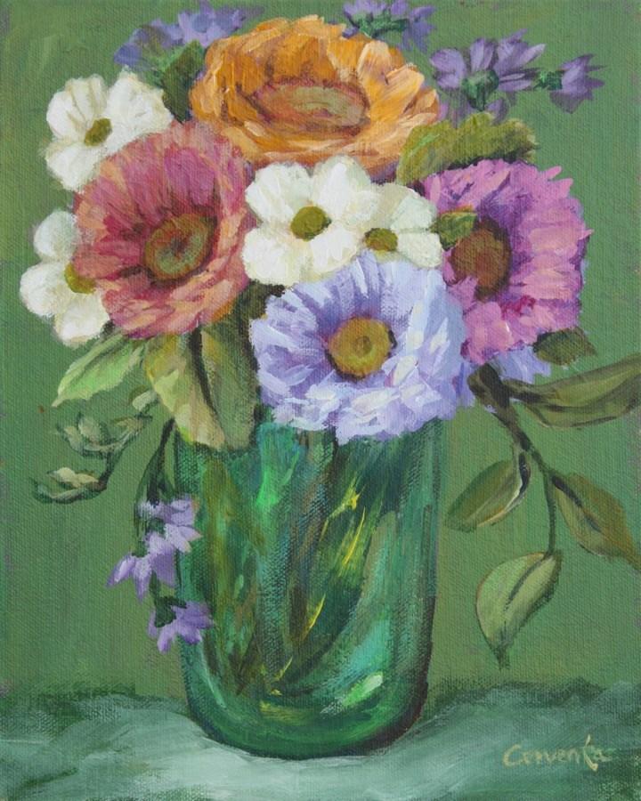 """Posy in Green Glass"" original fine art by Sue Cervenka"