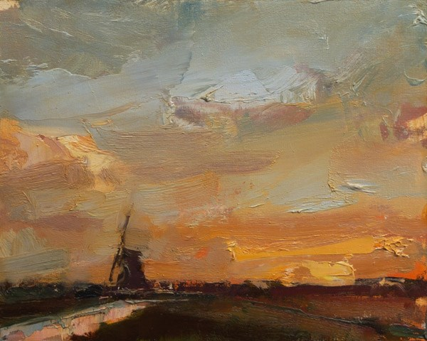 """Painting a Windmill at Sunrise"" original fine art by Roos Schuring"