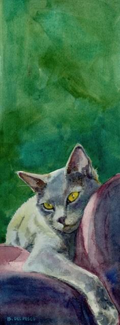 """""""Watercolor: Nik-Nik, Lounging"""" original fine art by Belinda Del Pesco"""
