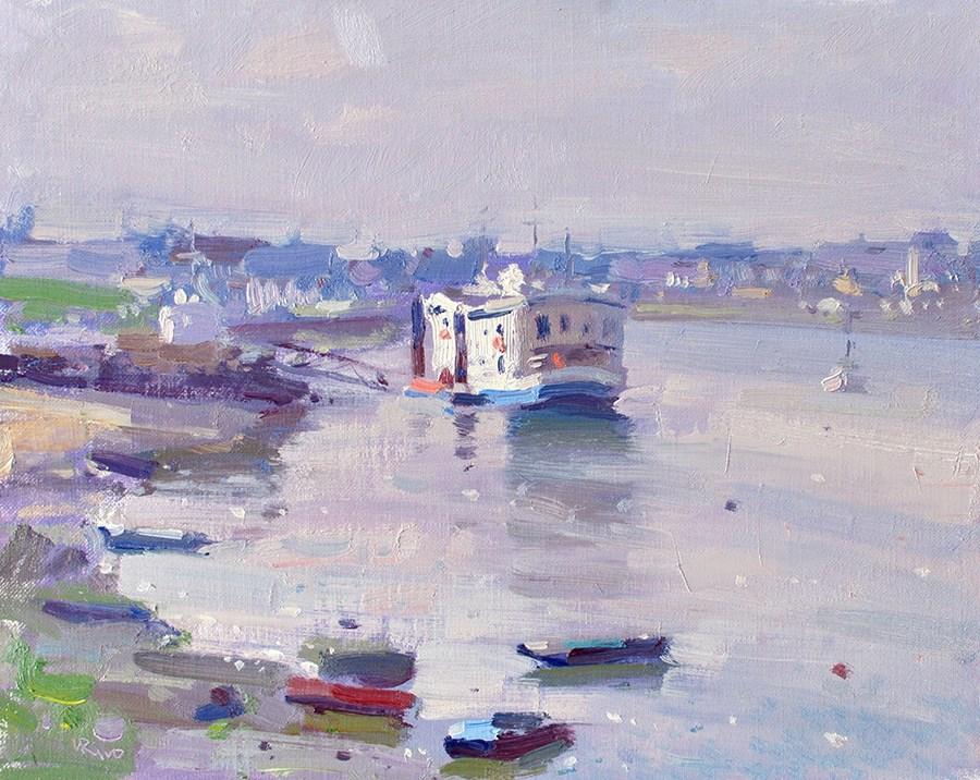 """Lilac Morning - Seixal Bay"" original fine art by Lena  Rivo"