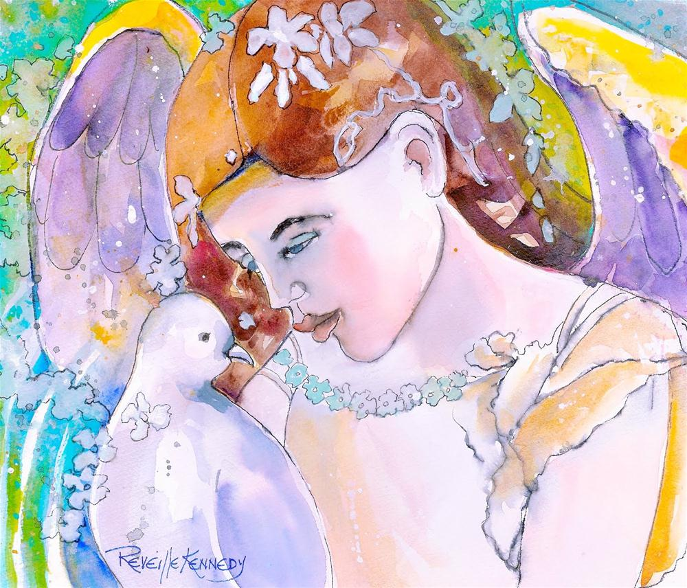 """The Angel and the Dove"" original fine art by Reveille Kennedy"