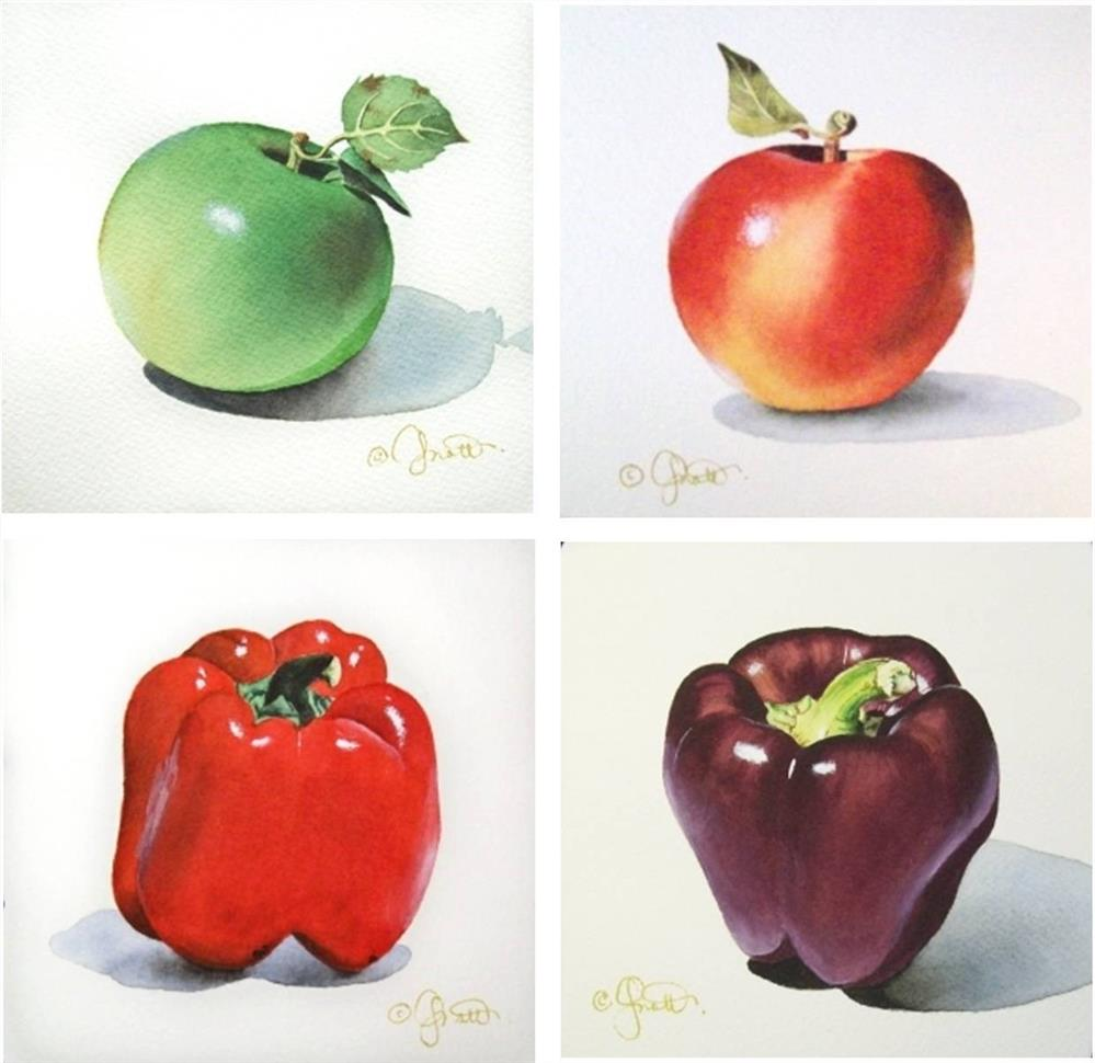 """Apples & Peppers"" original fine art by Jacqueline Gnott, whs"