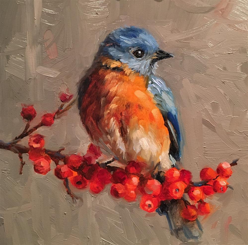 """Blue Bird & Berries"" original fine art by Krista Eaton"