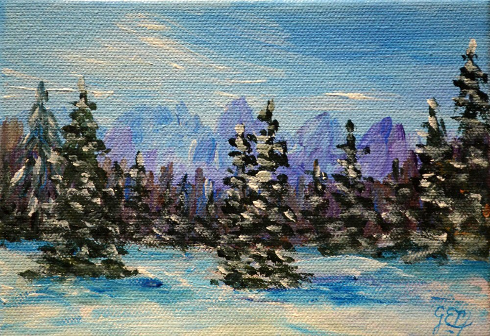 """Slovenian Winter"" original fine art by Gloria Ester"