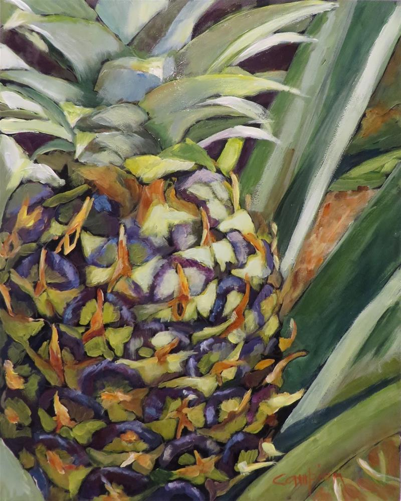 """794 Purple Pineapple"" original fine art by Diane Campion"