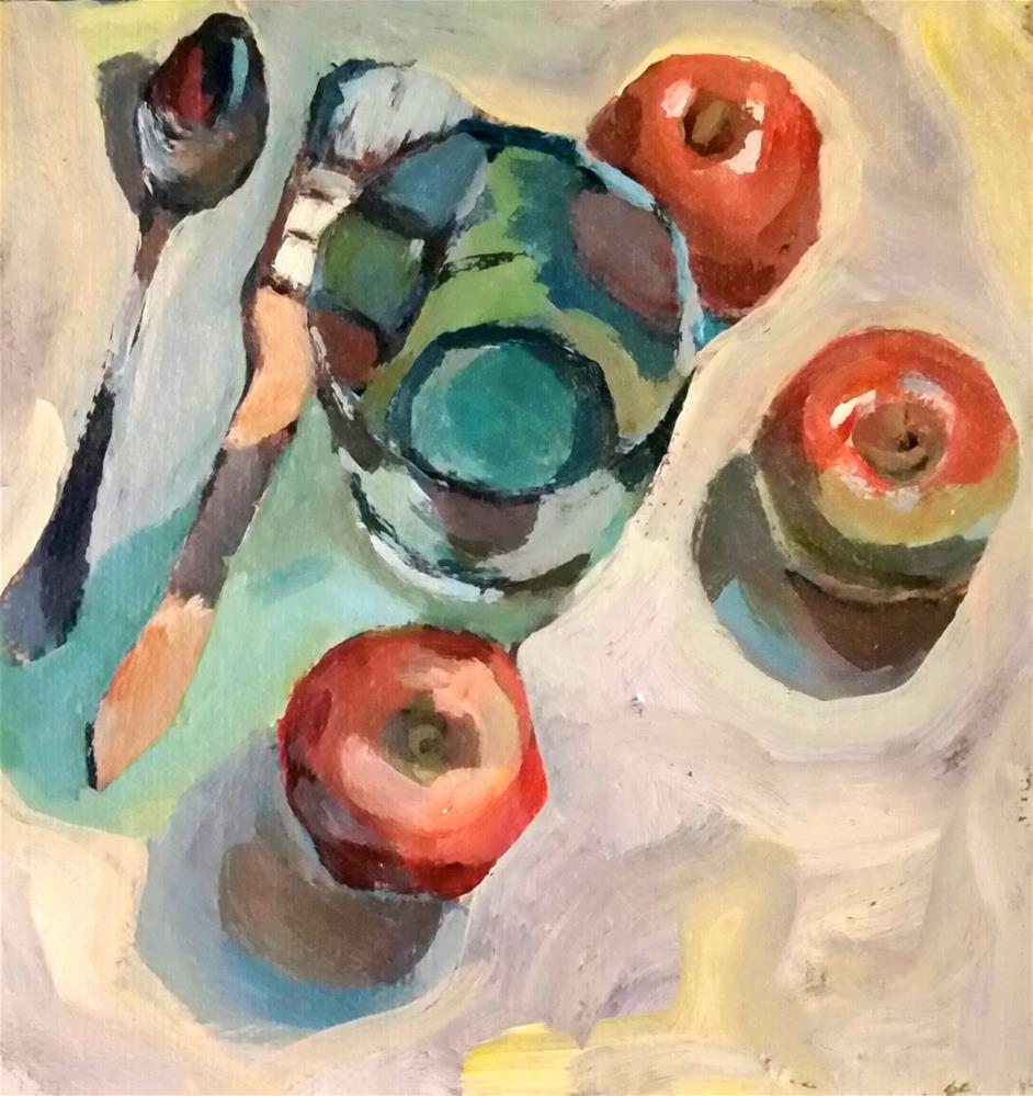 """Apples, glass, brush, spoon "" original fine art by Liz Maynes"