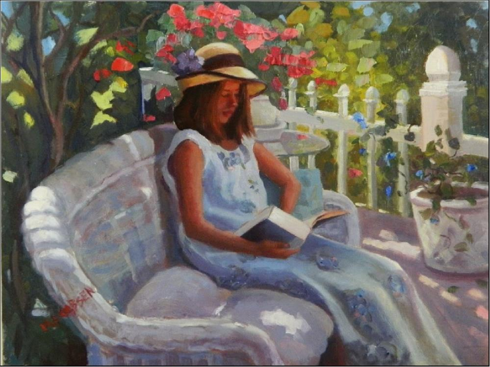 """Summer Days, 12x16, oil on linen, paintings of girls, dappled light, gardens, girls in hats, bo"" original fine art by Maryanne Jacobsen"