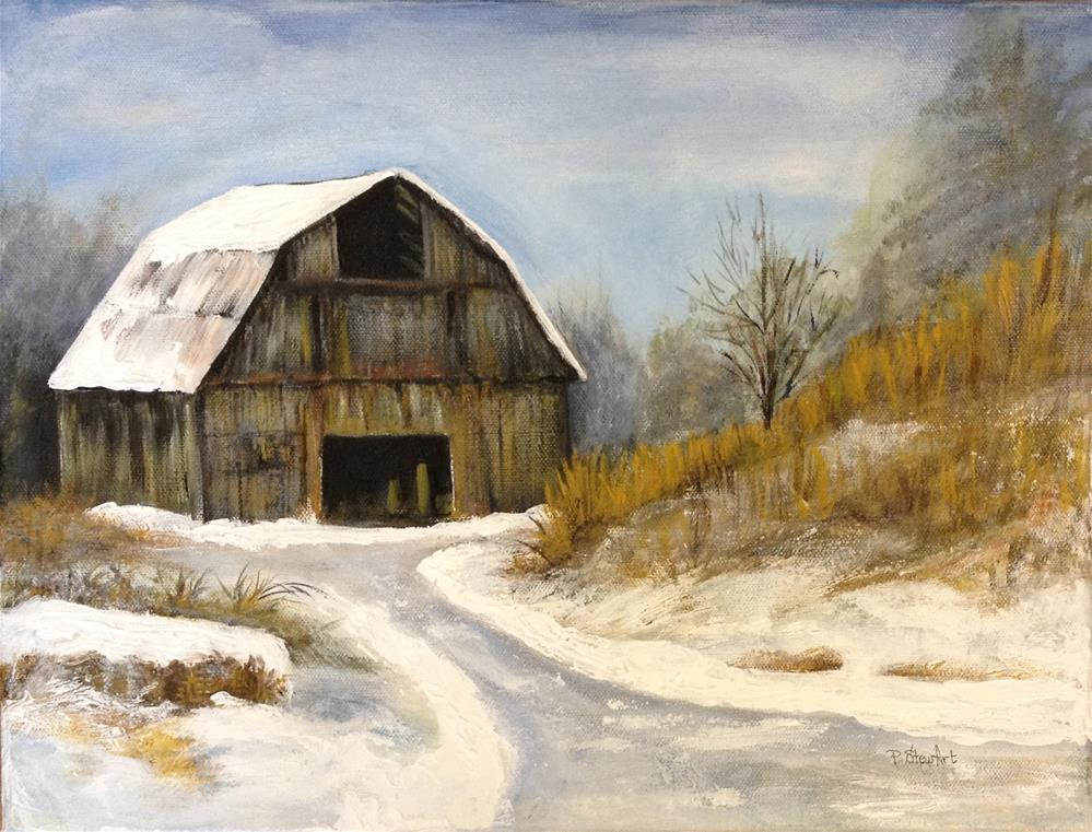 """12x16 Old Barn Winter Snow Scene Country Acrylic Painting Penny Lee StewArt"" original fine art by Penny Lee StewArt"