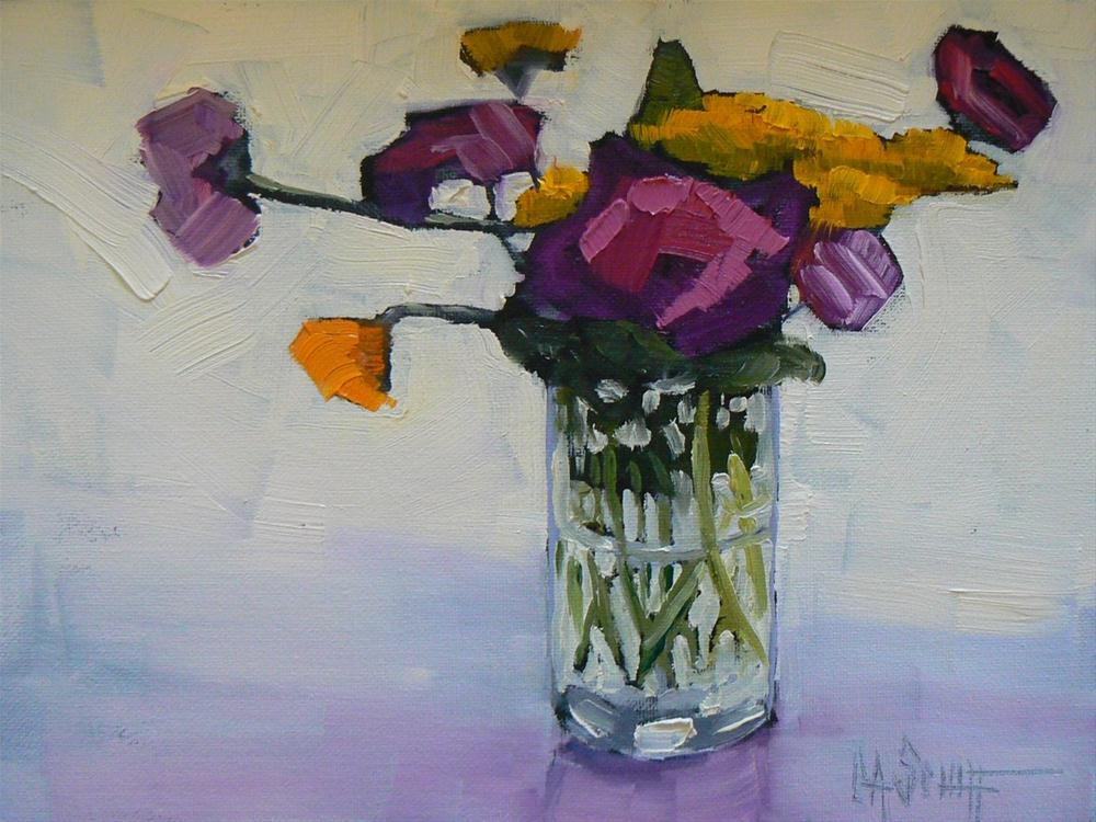 """Small Floral Still Life, Daily Painting, SOLD,  Horizontal Point of View 6x8"" original fine art by Carol Schiff"