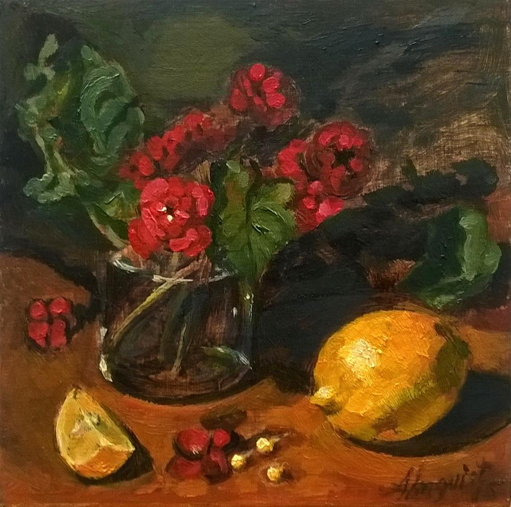 """Red Begonia with Lemon"" original fine art by Adriana B. Almquist"