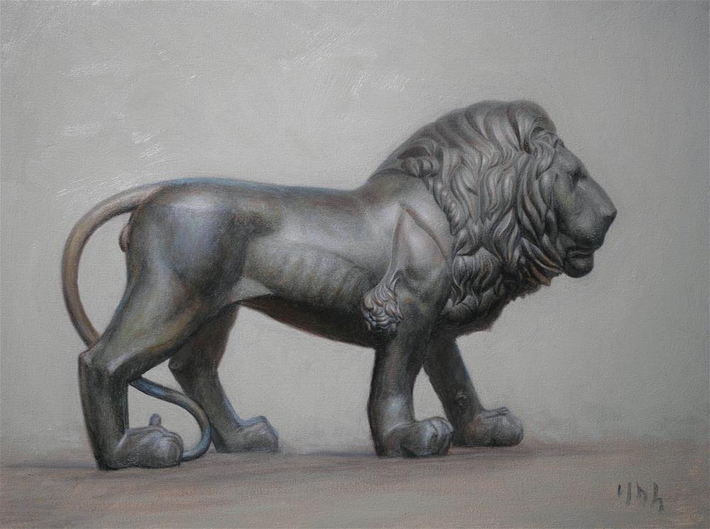 """lion statue"" original fine art by Yuehua He"