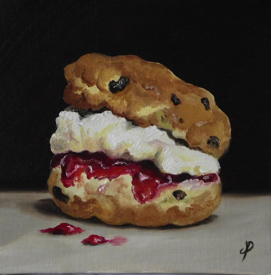"""Mum's Scone with jam and cream"" original fine art by Jane Palmer"