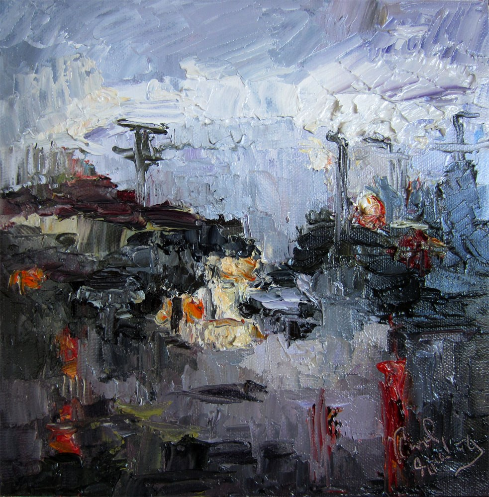"""Palms at Sepulveda in the Rain"" original fine art by Carol Steinberg"