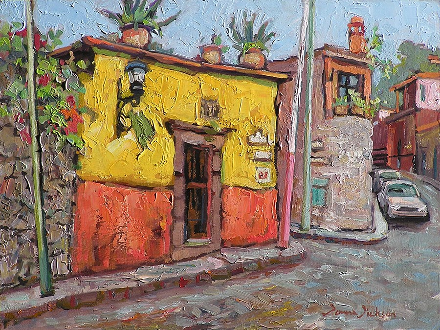 """Corner of Aldama in San Miguel de Allende"" original fine art by Donna Dickson"