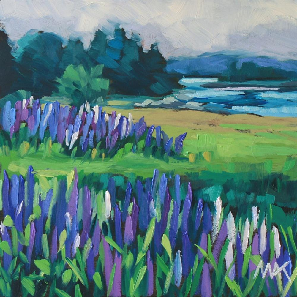 """""""Lupines and Fog"""" original fine art by Mary Anne Cary"""