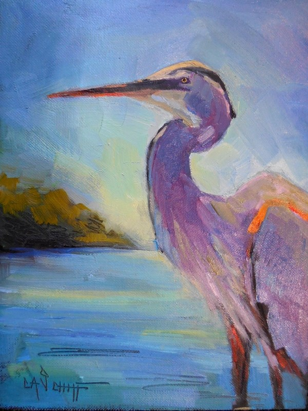 """Wildlife Painting, Bird Painting, Daily Painting, Great Blue Heron by Carol Schiff, 8x6 Oil  SOLD"" original fine art by Carol Schiff"
