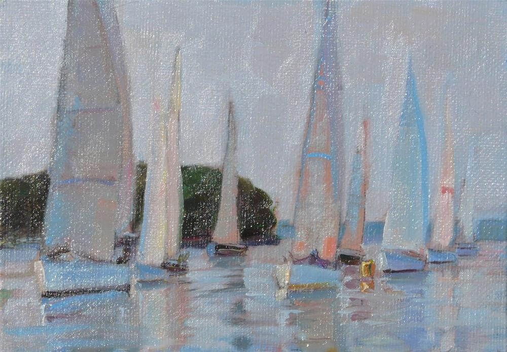 """Evening Island Boatrace,seascape,oil on canvas,5x7,price$150"" original fine art by Joy Olney"