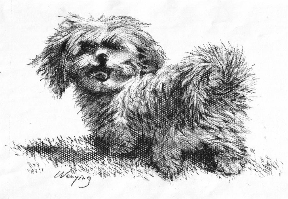"""running dog"" original fine art by Wenqing Xu"