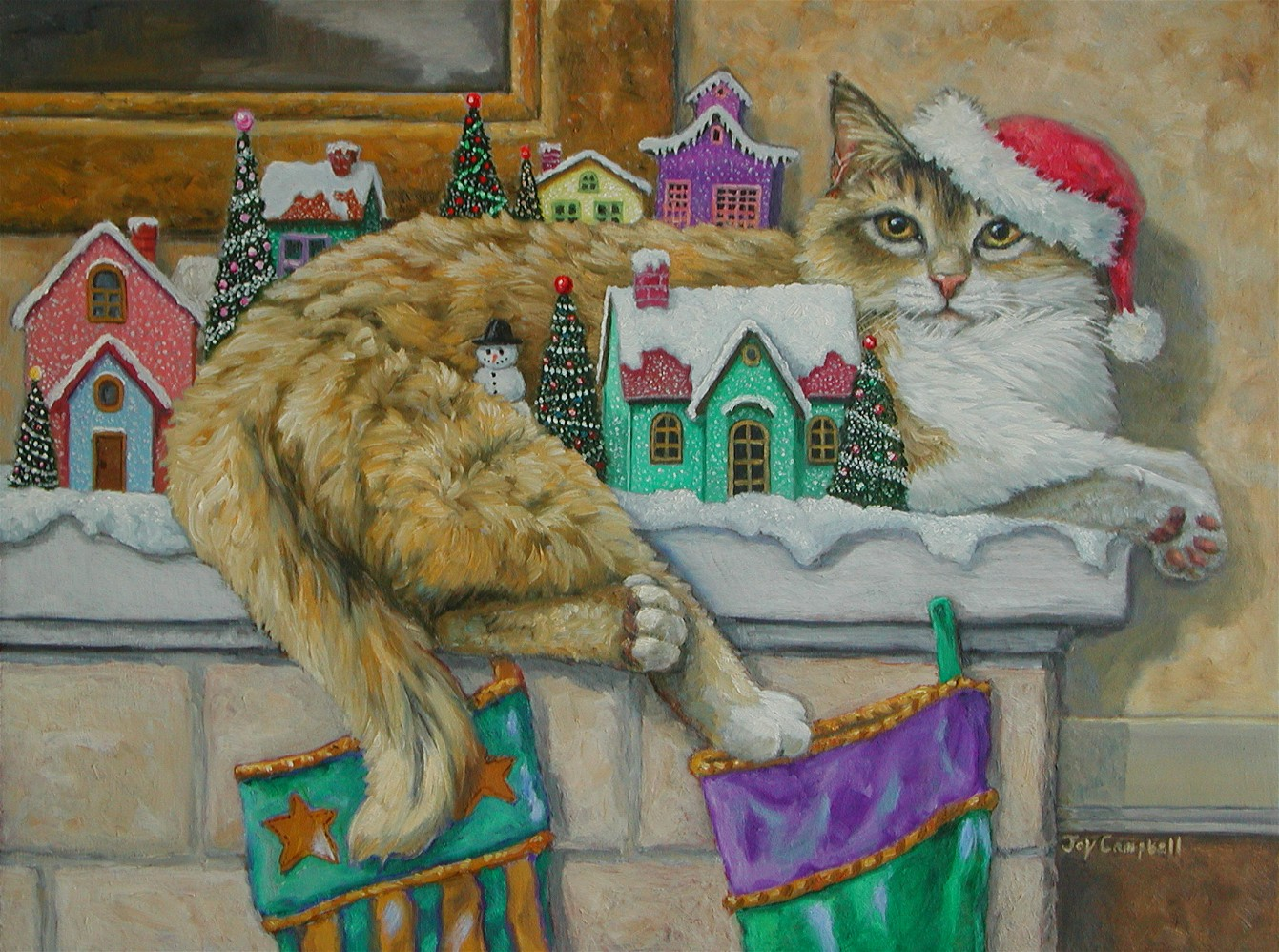 """Christmas Mantle"" original fine art by Joy Campbell"