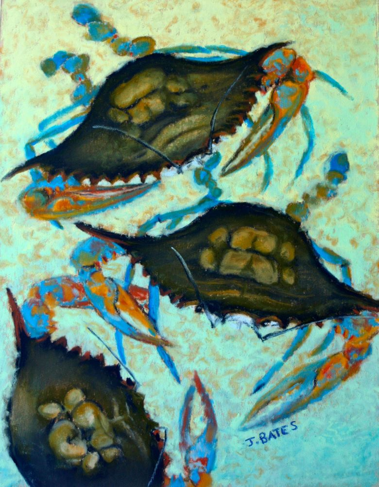 """Blue Crabs"" original fine art by Jill Bates"