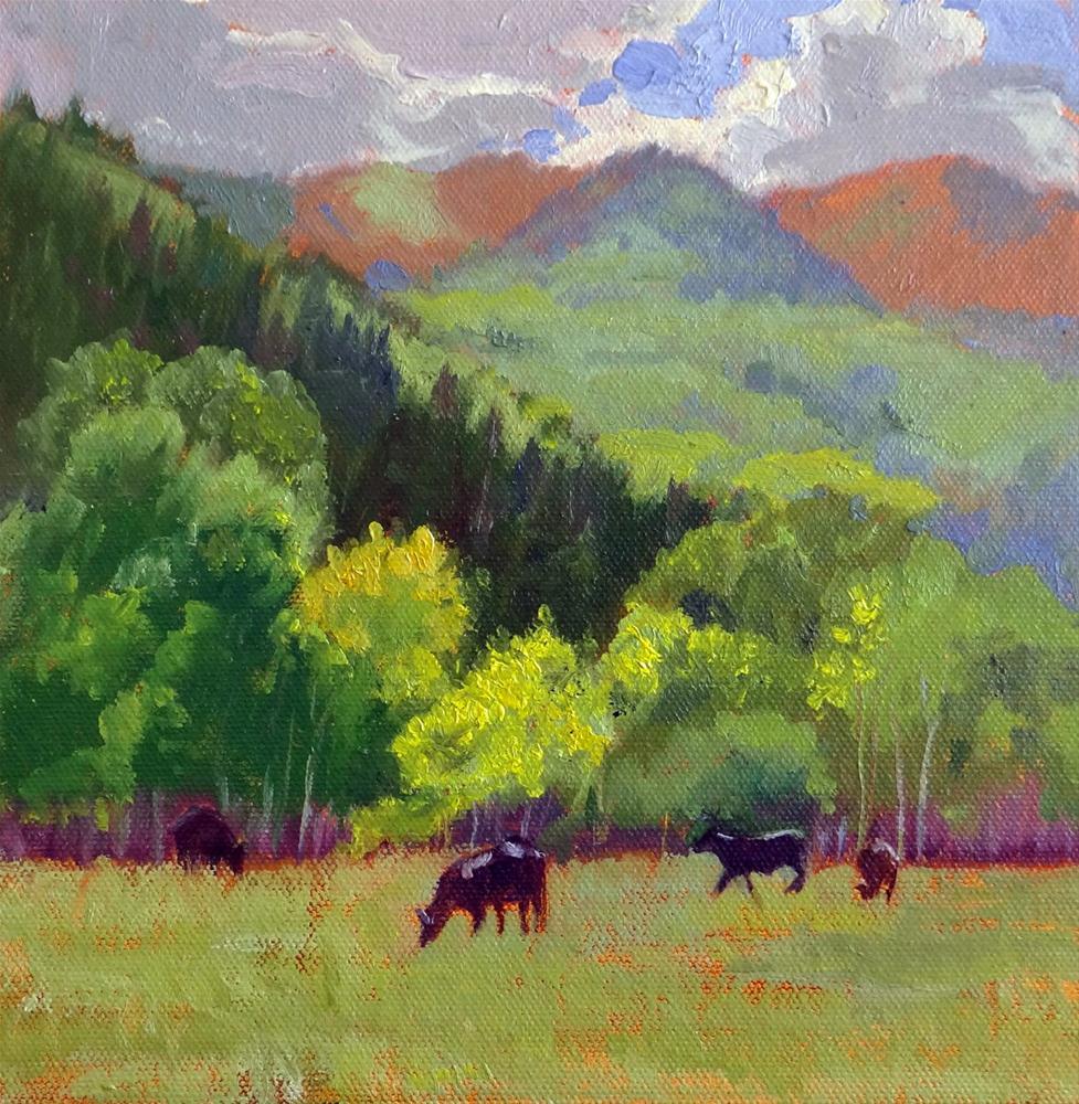 """""""Cows in an Aspen Grove"""" original fine art by Nancy Paris Pruden"""