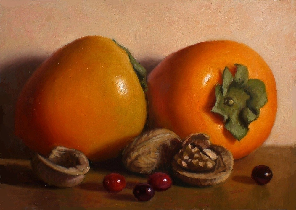 """Persimmons and Walnuts"" original fine art by Debra Becks Cooper"