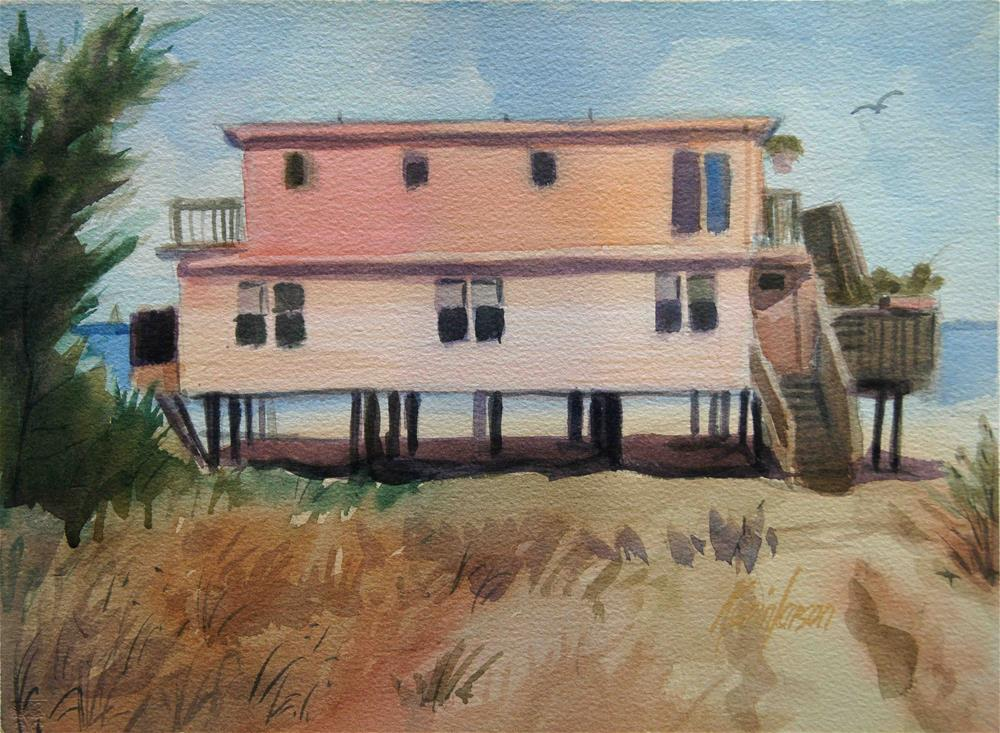 """Beach Cottage Pink"" original fine art by Kevin Larson"