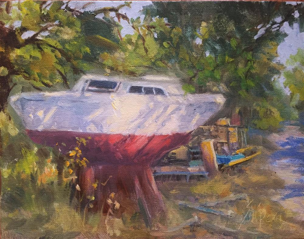 """In the Yard"" original fine art by Connie Snipes"