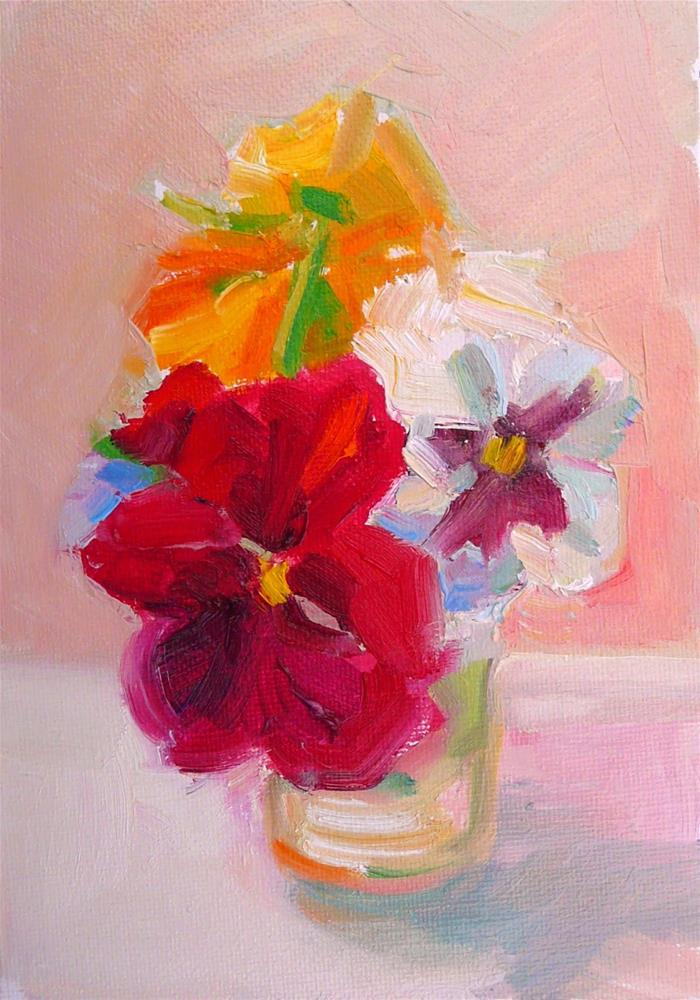 """Red Pansy and Friends,still life,oil on canvas,7x5,price$200"" original fine art by Joy Olney"