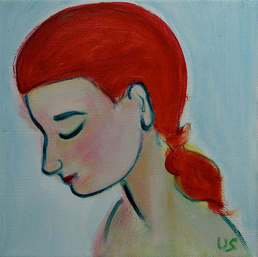 """Face, eye closed, light blue background, red hair"" original fine art by Ulrike Schmidt"