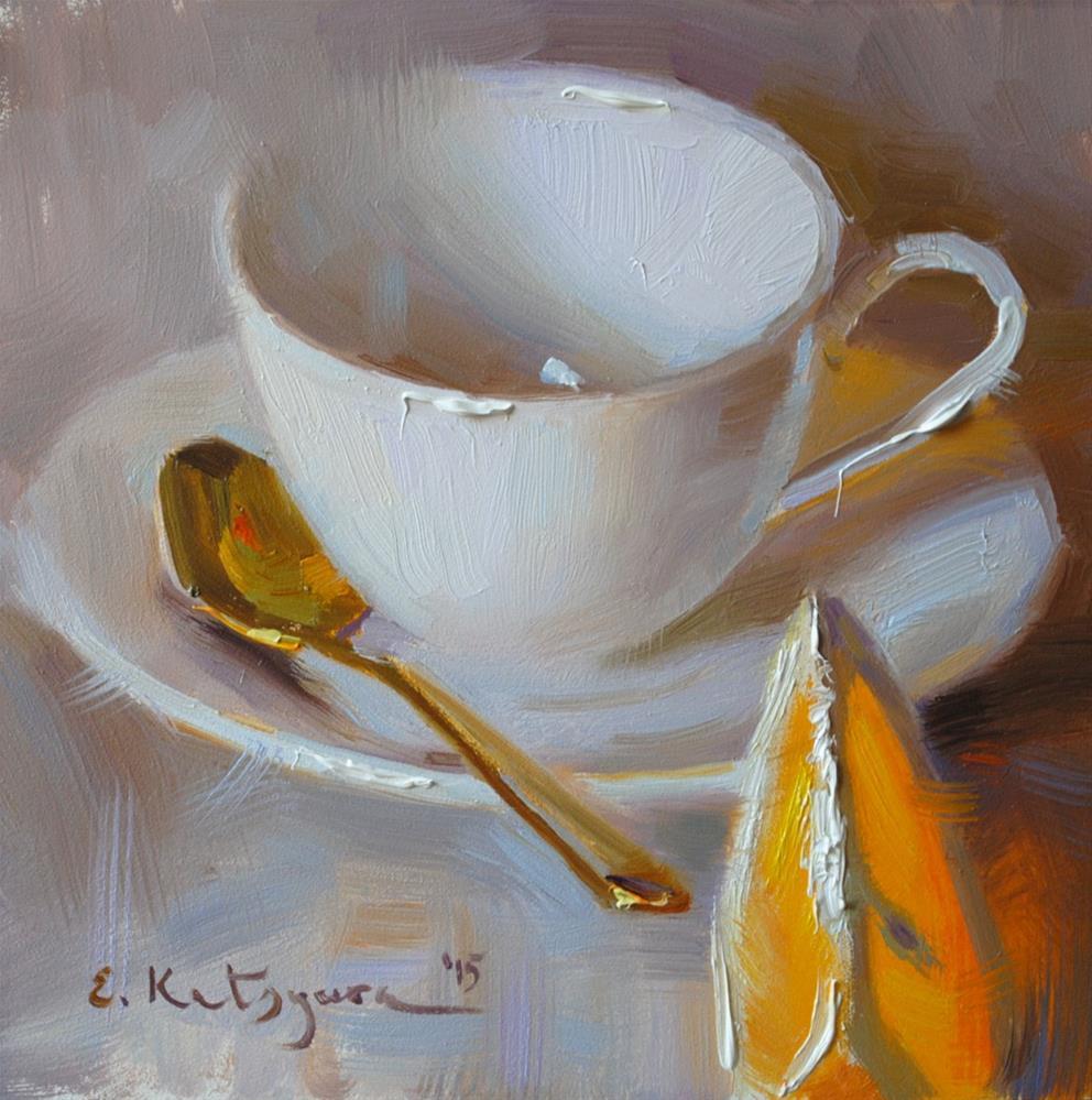 """White Cup and Orange"" original fine art by Elena Katsyura"